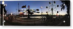 Lakeside Amusement Park At Night Panorama Photo Acrylic Print by Jeff Schomay