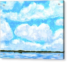 Acrylic Print featuring the mixed media Lakeside Blue - Georgia Abstract Landscape by Mark Tisdale