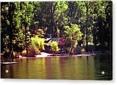 Lakeside Cabin In Idaho Usa Acrylic Print by Steve Ohlsen