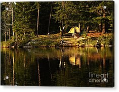 Acrylic Print featuring the photograph Lakeside Campsite by Larry Ricker