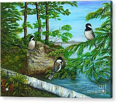 Acrylic Print featuring the painting Lakeside Chickadees by Judy Filarecki