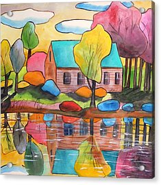 Acrylic Print featuring the painting Lakeside Dream House by John Williams