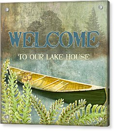 Lakeside Lodge - Welcome Sign Acrylic Print by Audrey Jeanne Roberts
