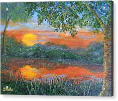 Lakeside Sunset Acrylic Print by Annie St Martin