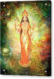 Lakshmi In A Galaxy  Acrylic Print by Ananda Vdovic