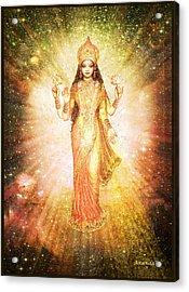 Lakshmi In A Galaxy, Radiating Pink Light Acrylic Print by Ananda Vdovic
