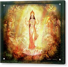 Lakshmi With Angels And Muses 1 Acrylic Print by Ananda Vdovic