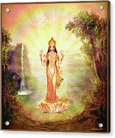 Lakshmi With The Waterfall Acrylic Print