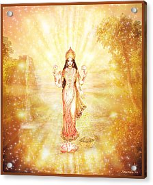 Lakshmi With The Waterfall - Light Acrylic Print by Ananda Vdovic