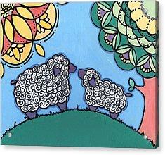Lamb And Mama Sheep Acrylic Print