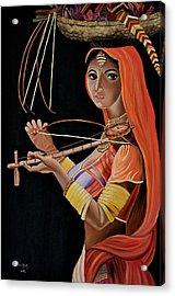 Lambani Girl Acrylic Print by Usha Rai