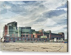 Acrylic Print featuring the photograph Lambeau Field Painterly Edition by Joel Witmeyer