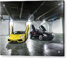Lamborghini Aventador And Mercedes Slr Acrylic Print