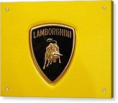 Lamborghini Logo Acrylic Print by Sydney Alvares