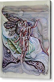 Acrylic Print featuring the drawing Lament A Wing by Doe-Lyn