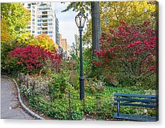 Lamppost And Bench Acrylic Print by Andrew Kazmierski