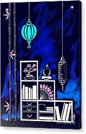Lamps, Books, Bamboo -- Negative Acrylic Print