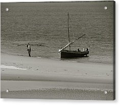 Lamu Island - Wooden Fishing Dhow Getting Unloaded - Black And White Acrylic Print by Exploramum Exploramum