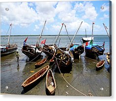 Lamu Island - Wooden Fishing Dhows At Low Tide Acrylic Print