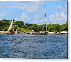 Lamu Island - Wooden Fishing Dhows In The Distance Acrylic Print