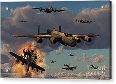 Lancaster Heavy Bombers Of The Royal Acrylic Print by Mark Stevenson