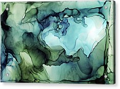 Land And Water Abstract Ink Painting Acrylic Print