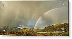 Land Of Enchantment - Rainbow Over Sandia Mountains Acrylic Print by Matt Tilghman