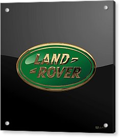 Land Rover - 3d Badge On Black Acrylic Print
