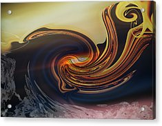 Acrylic Print featuring the digital art Landing At The Beach - Abstract by rd Erickson