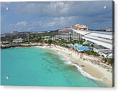 Landing Over Sunset Beach Saint Martin Caribbean Acrylic Print