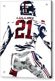 Acrylic Print featuring the mixed media Landon Collins New York Giants Pixel Art 1 by Joe Hamilton