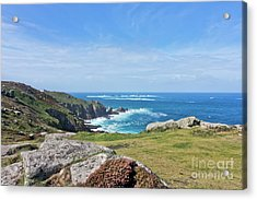 Land's End And Longships Lighthouse Cornwall Acrylic Print by Terri Waters