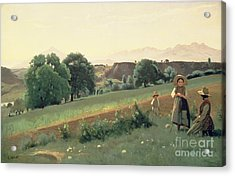 Landscape At Mornex Acrylic Print by Jean Baptiste Corot