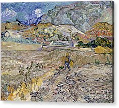 Landscape At Saint-remy Acrylic Print by Vincent Van Gogh