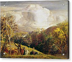 Landscape Figures And Cattle Acrylic Print by Samuel Palmer