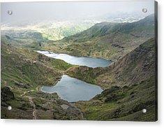 Landscape Image Of Glaslyn And Llyn Llydaw In Snowdonia With Gly Acrylic Print