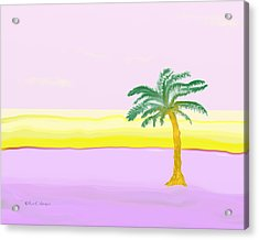 Landscape In Pink And Yellow Acrylic Print