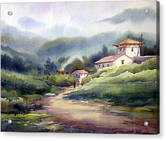 Acrylic Print featuring the painting Landscape Of Bhutan by Samiran Sarkar