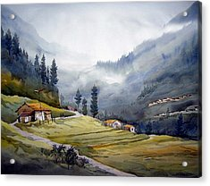 Acrylic Print featuring the painting Landscape Of Himalayan Mountain by Samiran Sarkar