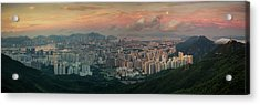 Landscape Of Hong Kong And Kowloon In Sunrise Morning With Mist  Acrylic Print by Anek Suwannaphoom