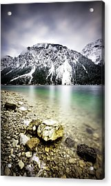 Landscape Of Plansee Lake And Alps Mountains During Winter, Snowy View, Tyrol, Austria. Acrylic Print