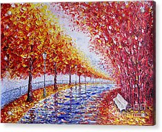 Landscape Painting Gold Alley Acrylic Print by Valery Rybakow