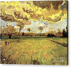 Landscape Under A Stormy Sky Acrylic Print by Vincent Van Gogh