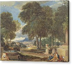 Landscape With A Man Washing His Feet At A Fountain Acrylic Print by David Cox