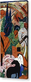 Landscape With Animals And Rainbow Acrylic Print by Franz Marc