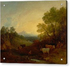 Landscape With Cattle Acrylic Print by Thomas Gainsborough