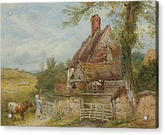 Landscape With Cottage, Girl And Cow Acrylic Print by Myles Birket Foster