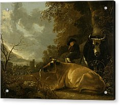 Landscape With Cows And Young Herdsman Acrylic Print