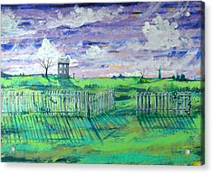Landscape With Fence Acrylic Print by Rollin Kocsis
