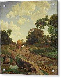 Landscape With Haywagon Acrylic Print by Valentin Ruths